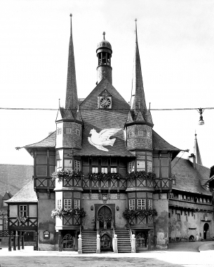 Friedenstaube von Picasso auf dem Rathaus Wernigerode - Dieter Oemler