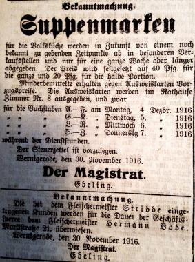 Suppenmarken 1916 - Stadtarchiv Wernigerode