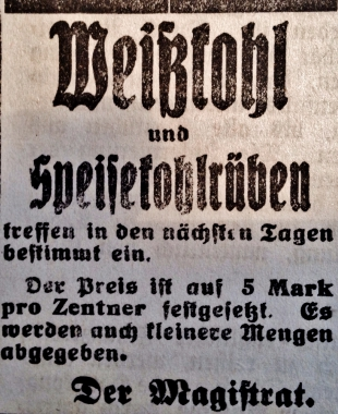 Kohlrübenwinter - Stadtarchiv Wernigerode
