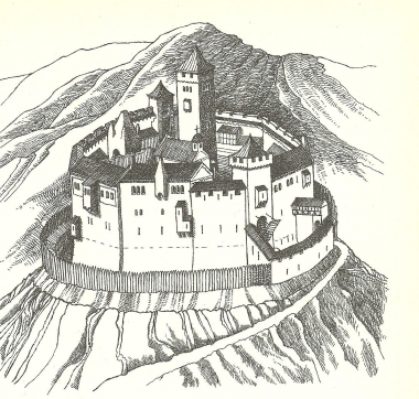 Burg Wernigerode im 12./13. JahrhundertRekonstruktionszeichnung von Hermann Wäscher - Karl-Heinz Döring