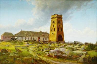 Brockenhaus mit Turm, Ernst Helbig 1802-1866 - Harzmuseum Wernigerode
