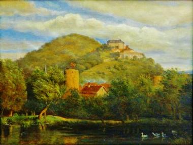 """Der """"Katzenteich"""" und zwei Wehrtürme, Herkunft unbekannt - Harzmuseum Wernigerode"""