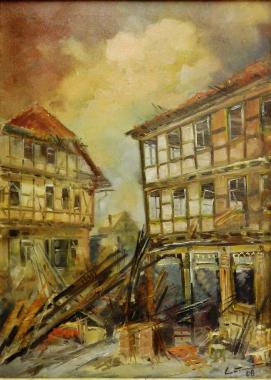 Bombeneinschlag Burgstraße Ecke Unterengengasse, Ulrich Lucas *1952 - Harzmuseum Wernigerode