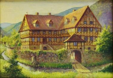 Rekonstruktion der Burg Hasserode von Wilhelm Pramme 1898-1965 - Harzmuseum Wernigerode