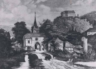 Das Westerntor mit Vortor und Mauerturm 1844 - Stadtarchiv Wernigerode