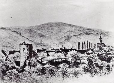 Stadtmauer und Turm am Burgberg 1829 - Harzbücherei Wernigerode