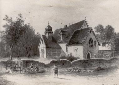 Die Georgie-Kapelle auf einem Gemälde aus dem Jahr 1865 - Harzbücherei Wernigerode