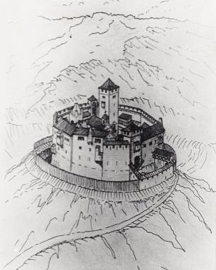 Ansicht des Schlosses 12./13. Jahrhundert - Harzbücherei Wernigerode