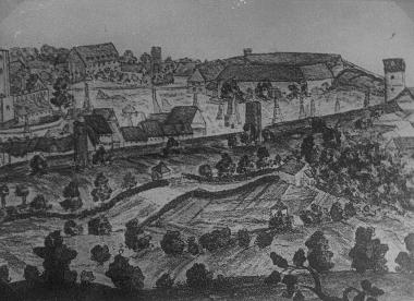 Südliche Stadtmauer, vom Lindenberg aus gesehen 1751 - Harzbücherei Wernigerode