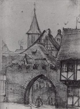 Ehemaliges Burgtor von außen um 1830 - Harzbücherei Wernigerode