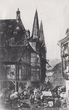 Rathaus - Fassade aus Richtung Osten 1846 - Harzbücherei Wernigerode