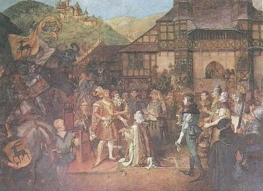 Erbhuldigung für Graf Botho zu Stolberg am 10.11.1417 - Wandgemälde im Festsaal des Wernigeröder Schlosses