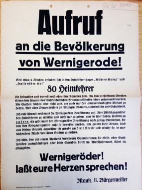 Aufruf an die Bevölkerung - Stadtarchiv Wernigerode