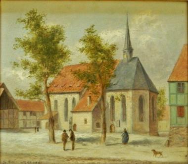 1265 wird die Nicolaikirche erstmals erwähnt. Gemälde von Albert Schöpwinkel(1830-1910) - Harzmuseum Wernigerode