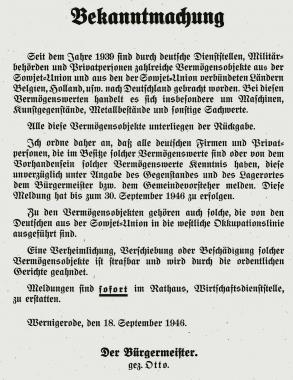 Bekanntmachung - Stadtarchiv Wernigerode