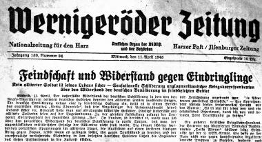 """Letzte Ausgabe der """"Wernigeröder Zeitung"""" vor dem Ende des Zweiten Weltkrieges  - Stadtarchiv Wernigerode"""