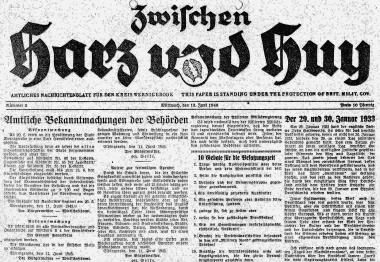 erste Tageszeitung nach dem Zweiten Weltkrieg - Stadtarchiv Wernigerode