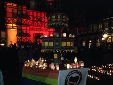 Lichteraktion in Wernigerode für Weltoffenheit und Toleranz © Wolfgang Grothe