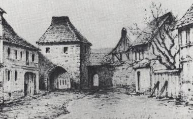 Johannistor(lag am westlichen Ende der heutigenPfarrstraße und bildete den Stadtausgang Richtung Westen) - gemeinfrei