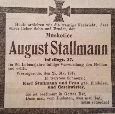 Todesanzeige für August Stallmann © Wolfgang Grothe