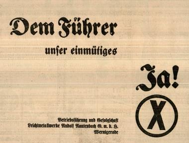"""Aufruf der Betriebsführung und Gefolgschaft der Leichtmetallwerke Rautenbach, dem Führer das """"Ja"""" zu geben. © Wolfgang Grothe"""