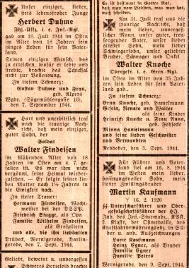Gefallenen-Anzeigen in der Wernigeröder Zeitung vom 9. September 1944 © Wolfgang Grothe