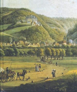 Ansicht der Stadt und des Schlosses um 1810 auf einem Gemälde von Anton Balzer - gemeinfrei