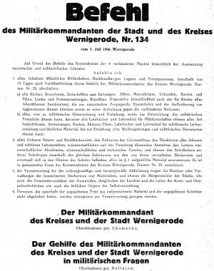 Befehl 134 des sowjetischen Militärkommandanten von Wernigerode - Stadtarchiv Wernigerode WR III 6/2