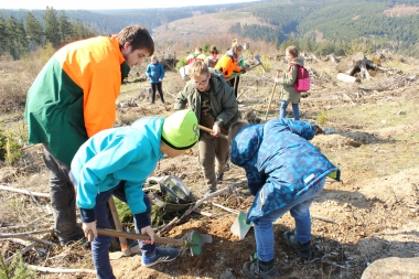 Pflanzaktion mit Grundschulkindern der August-Herman-Franke-Schule im Stadtwald - Winnie Zagrodnik