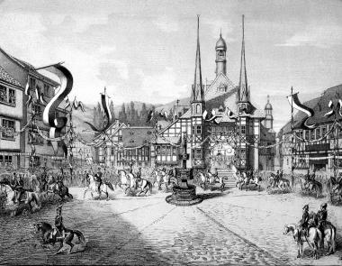 Parade auf dem Marktplatz aus Anlass des Regierungsantritts des Grafen Otto (Maler: Robert Riefenstahl aus Ilsenburg) - Fotothek Harzbücherei