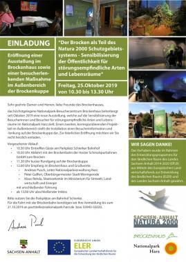 Einladung Brockenhaus Ausstellungseröffnung - Nationalpark Harz