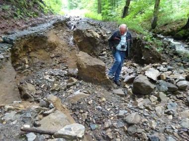 Wegeschäden im Nationalpark nach dem Starkregen Ende Juli 2017 - Nationalpark Harz