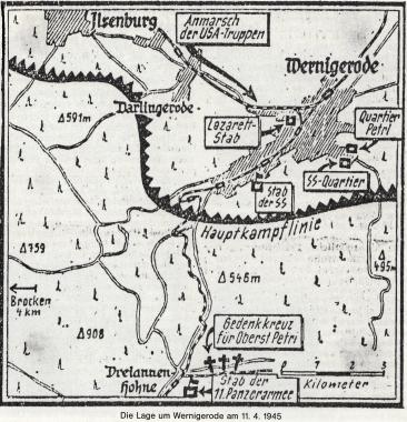 Die Lage um Wernigerode am 11.04.1945    - Stadtarchiv Wernigerode