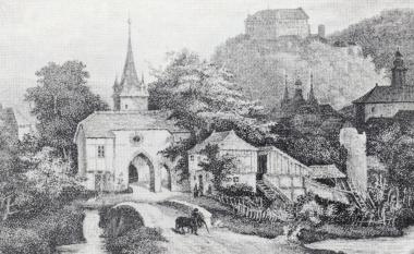 Westerntor um 1840. Der Vorbau wurde 1853 abgerissen. - Stadtarchiv Wernigerode