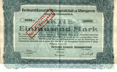 Aktie der Ferdinand Karnatzki AG - Harzbücherei