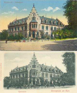 """Historische Postkarte des Gymnasiums (heute """"Gerhart-Hauptmann-Gymnasium"""") - Stadtarchiv Wernigerode"""