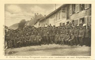 Der Fürst zu Besuch bei Wernigeröder Soldaten an der Westfront. - Stadtarchiv Wernigerode