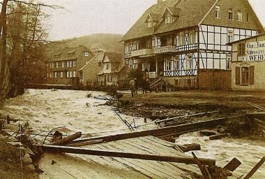 Hochwasser in Hasserode - Stadtarchiv Wernigerode /PK XII 21