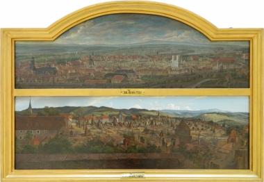 """Landschaftsmaler Ernst Helbig (1802-1866) """"Stadtbrände 1751 und 1847"""" - Harzmuseum Wernigerode"""
