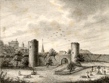 ehemalige nördliche Mauer mit Gefangenenturm um 1855 - Stadtarchiv Wernigerode