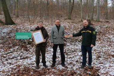 PEFC-Vorsitzende Prof. Dr. Andreas W. Bitter, Oberbürgermeister Peter Gaffert und Heidelbergs Forstbetriebsleiter Florian Haensel freuen sich auf ein ereignisreiches Jahr in Wernigerode als Waldhauptstadt und überreichen den Staffelstab. - Petra Bothe