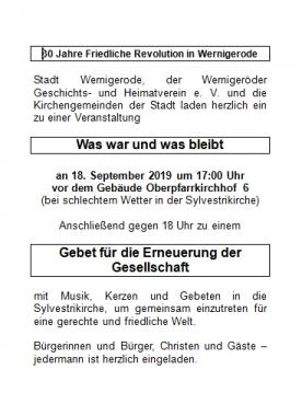Handzettel - 30 Jahre Friedliche Revolution in Wernigerode - Peter Lehmann